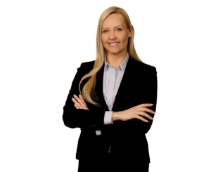 Elissa Hedlund - a woman in a business suit, smiling at the camera