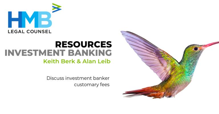 Keith Berk Alan Leib Investment Banker Customary Fees