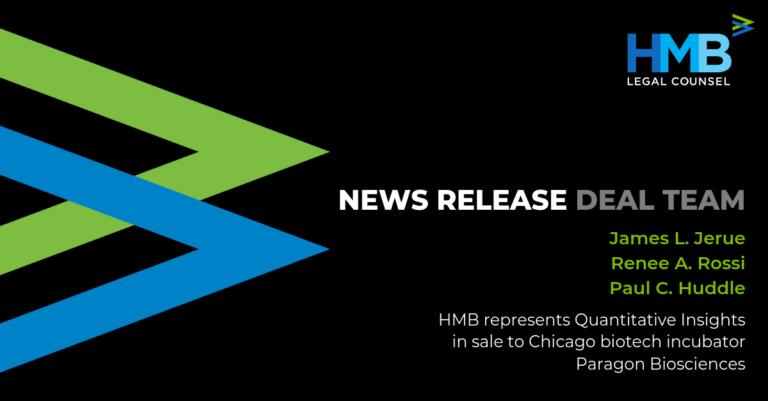 HMB Represents Quantitative Insights in Sale to Chicago Biotech Incubator Paragon Biosciences