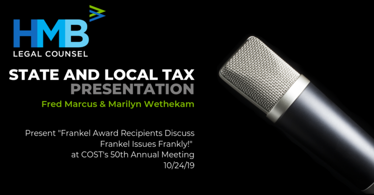 """Fred Marcus and Marilyn Wethekam present """"Frankel Award Recipients Discuss Frankel Issues Frankly!"""" at COST's 50th Annual Meeting - 10/24/19"""