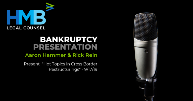 """Aaron Hammer and Rick Rein present """"Hot Topics in Cross Border Restructurings"""" - 9/17/19"""
