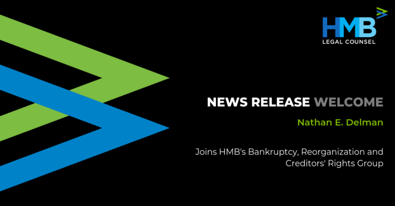 News Release Nathan E. Delman Bankruptcy Reorganization and Creditors' Rights