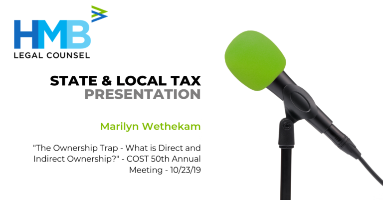 """Marilyn Wethekam presents """"The Ownership Trap - What is Direct and Indirect Ownership?"""" at the COST 50th Annual Meeting – 10/23/19"""