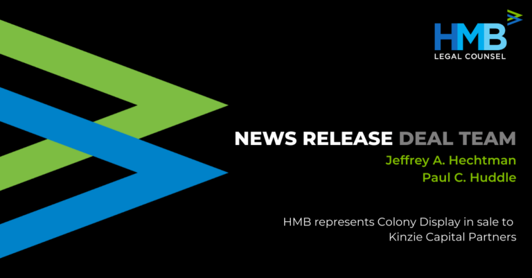 A black background with HMB's green and blue arrow logo pointing to the right.