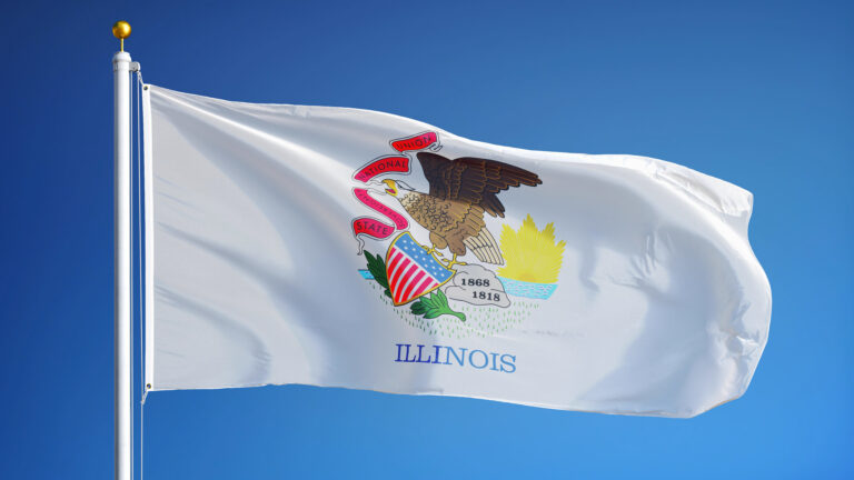 Illinois flag in the wind.